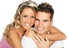 Love couple. Young love couple smiling. Over white background royalty free stock images
