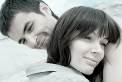 Love couple. The young love couple smiling Stock Images