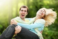 Love couple. Happy couple love fun nature Royalty Free Stock Image