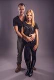 Love Couple, autumn fashion in the studio Royalty Free Stock Photo