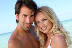 In love couple at the beach Royalty Free Stock Images