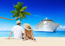Love Couple on the Beautiful Beach Royalty Free Stock Photography