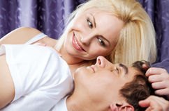 Love couple  bed happy Royalty Free Stock Photography
