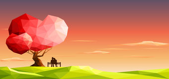 Love couple on bench under love tree. Valentine day concept.Polygonal style. Eps10 Vector Illustration Stock Photos