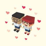 Love couple block isometric cartoon character Stock Photo