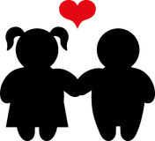 Love couple icon with heart. Boy and girl figures holding hands with heart Stock Photos