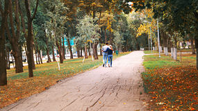 Love couple, boy and girl walking on a autumn alley Royalty Free Stock Photography