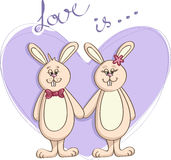 Love is couple of bunnies and heart - Vector illustration Royalty Free Stock Photography