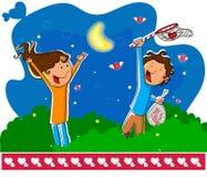 Love couple catching love flies Stock Image