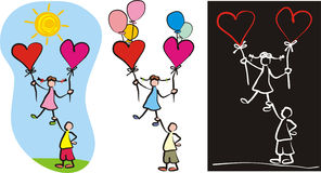 Love couple - child`s drawing Stock Photos