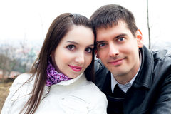 Love couple in city Prague Stock Images
