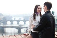 Love couple in city Prague Stock Image