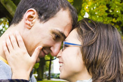 Love couple closeup looking happy. Close up Royalty Free Stock Photography