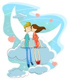 Love couple on cloud Stock Photos