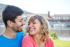 Love couple in colorful shirts outside Stock Photo