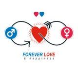 Love Couple conceptual logo, unique vector symbol. Male and Fema Royalty Free Stock Photo