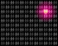 Love Couple Crowd Outstanding. Love couple that stands out from the grey crowd - glowing pink in the dark and rubbing off on the pale neighbor couples. Vector royalty free illustration