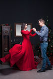 Love couple dancing at luxury restaurant Royalty Free Stock Photography