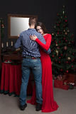 Love couple dancing at luxury restaurant Stock Images