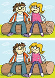 Love Couple Differences Visual Game. For children. Illustration is in eps10  mode! Task: Find 10 Differences! Solution is in hidden layer Royalty Free Stock Image