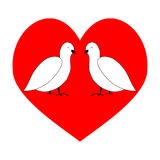 Love couple dove in red heart Stock Image