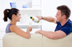 Love couple - drinking champagne Royalty Free Stock Image