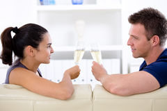 Love couple - drinking champagne Stock Photo
