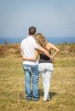 Love couple embracing outdoors on a summer day Royalty Free Stock Photo