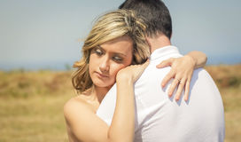 Love couple embracing outdoors on a summer day Royalty Free Stock Photos