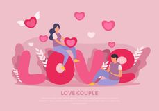 Love Couple Flat Background royalty free stock photos