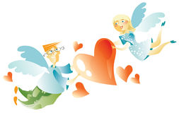 Love Couple Flying with Hearts Royalty Free Stock Photography