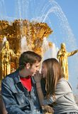 Love couple at a fountain Stock Photo