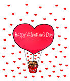 Love Couple Happy Valentine`s Red Heart Balloon Stock Photo