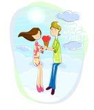 Love couple with heart shaped icecream. Love couple sitting on heart in cloudscape with heart shaped icecream Royalty Free Stock Photos