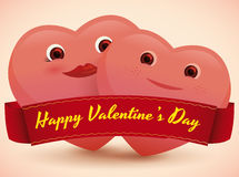 In Love Couple of Hearts in Valentine's Day, Vector Illustration Royalty Free Stock Images