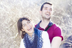 Love couple hugging and laughing outdoor Stock Photos