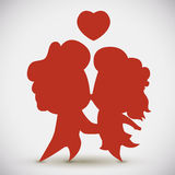 In-love Couple Kissing Silhouette, Vector Illustration Stock Images