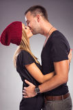 Love Couple kissing the studio Royalty Free Stock Photography