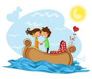 Love couple kissng in boat Royalty Free Stock Photography