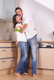 Love couple kitchen Stock Images