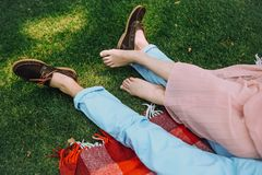 Lifestyle concept Love couple lying together picnic stock photo