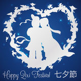 In Love Couple with Magpies Silhouette Around them for Qixi Celebration, Vector Illustration Stock Image