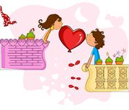 Love couple making heart in balcony Stock Image