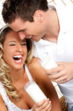 Love couple with milk Royalty Free Stock Image