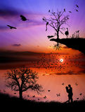 Love couple in the nature. Spring sunset in wildlife and couple love Royalty Free Stock Images