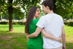 Love couple out in the park  embrasing each other Stock Photos