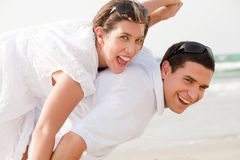Love Couple Piggybacking Stock Photo