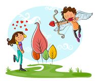 Love couple playing with bow and arrow Stock Images
