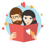Love couple reading a love letter. Wedding concept. Stock Image