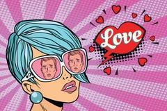 Love couple, reflection of men in sunglasses women. Pop art retro comic book vector illustration Stock Photo